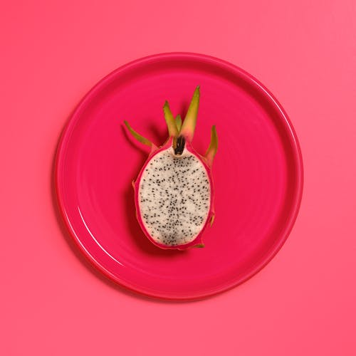 Red Dragon Fruit on Red Plate