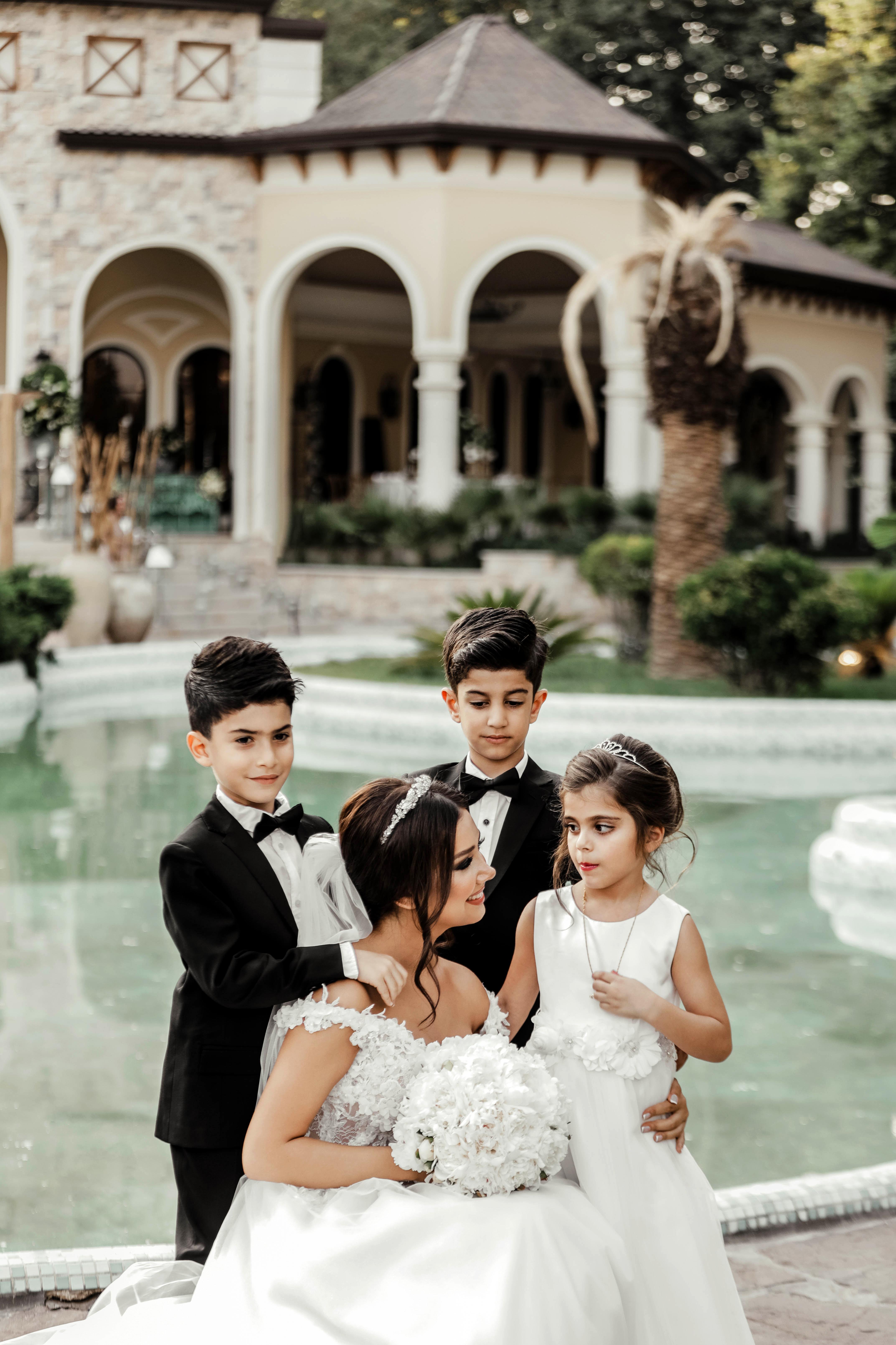 Bride With Her Children Entourage