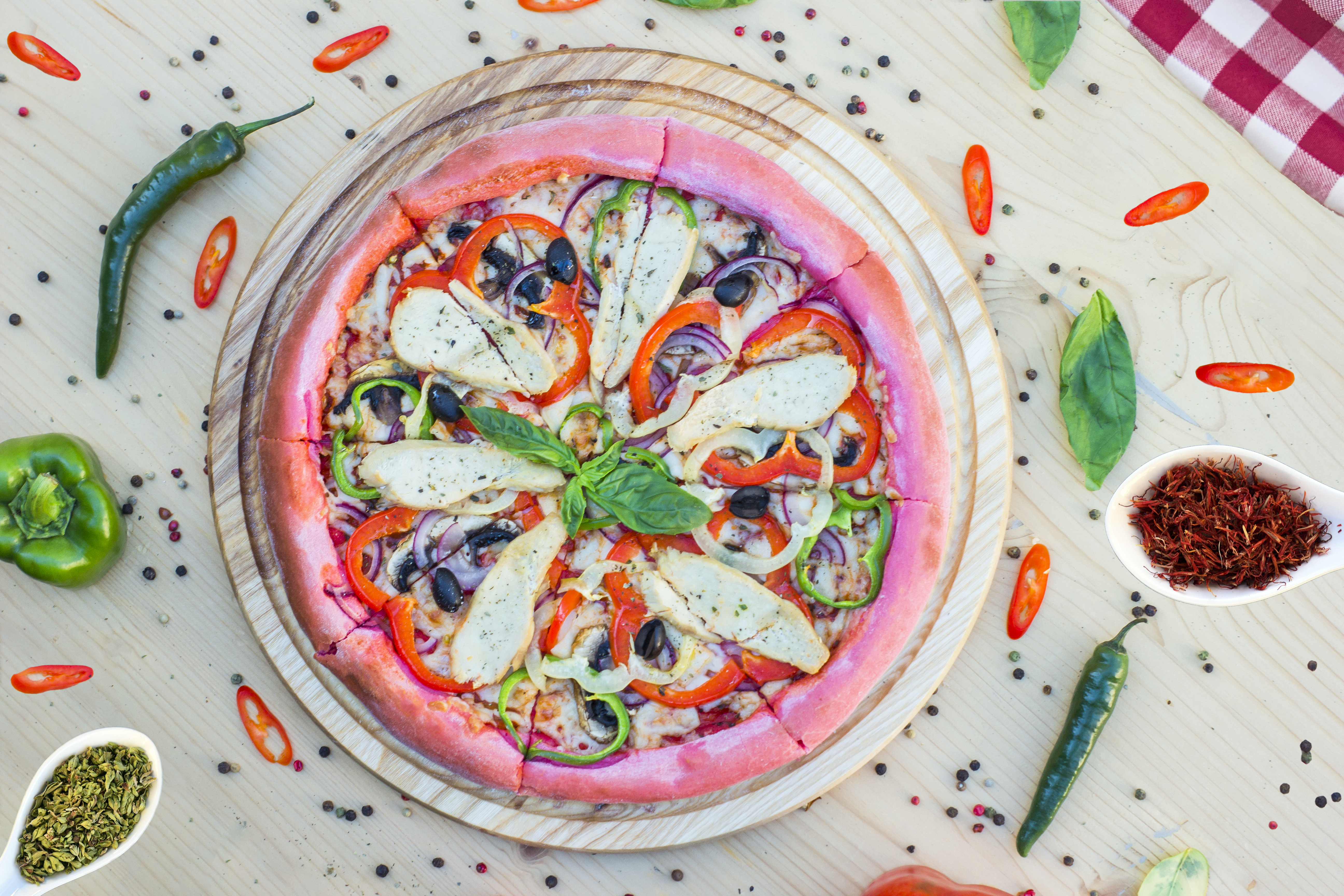 A Colorful Sliced Pizza