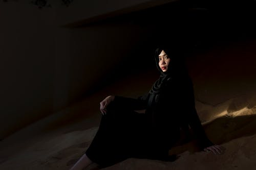 Woman Pose Wearing Black Abaya Dress