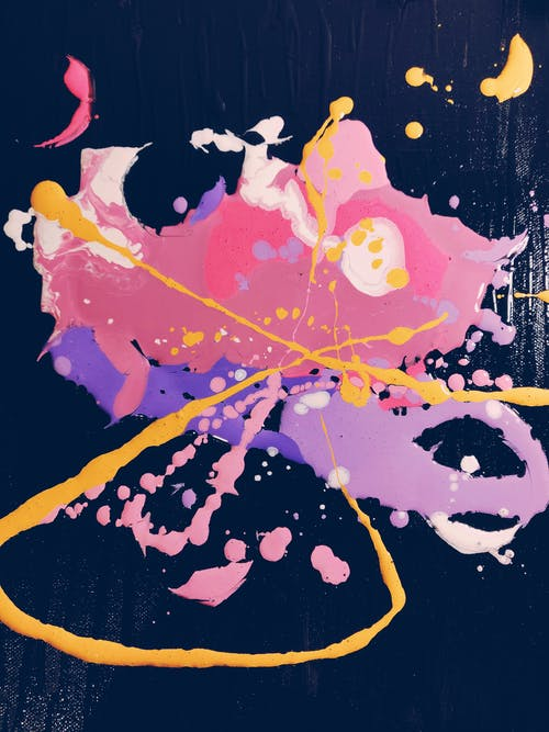 Pink, Yellow, and Purple Abstract Painting