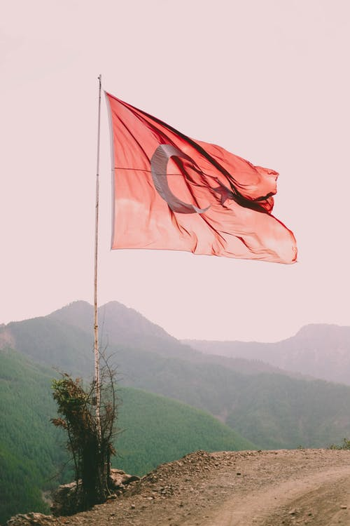 Free stock photo of flag, months, mountains, road