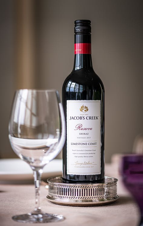 Jacob's Creek Reserve Bottle With Wine Glass