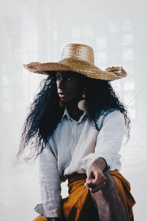 chapeau, chapeau de paille, femme
