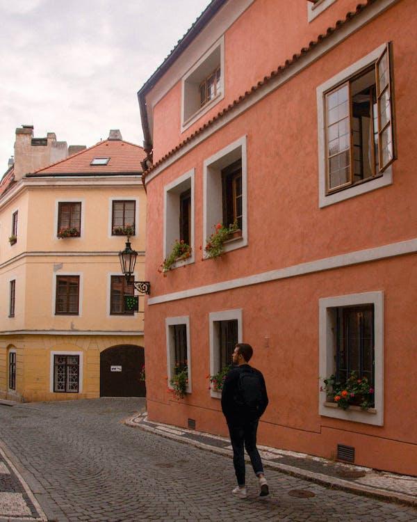 achteraanzicht, appartementen, architectuur