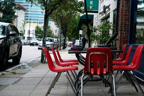 Free stock photo of chairs, citylife, dinner, downtown