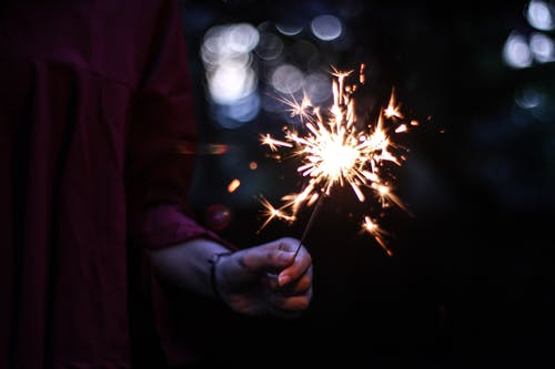 Photo of Person Holding a Lighted Sparkler