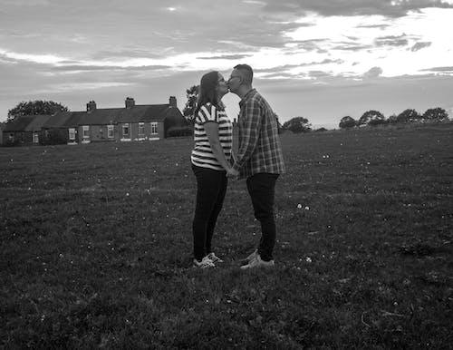 Free stock photo of Beautiful sunset, black and white, black and-white, couple
