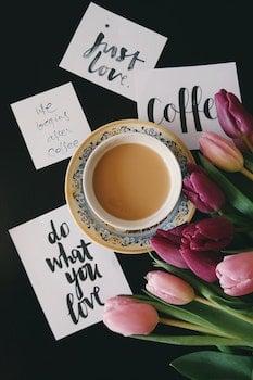 Free stock photo of coffee, cup, mug, flowers