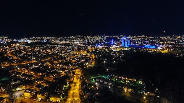 Free stock photo of city, lights, night, skyline
