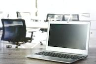 black-and-white, desk, laptop