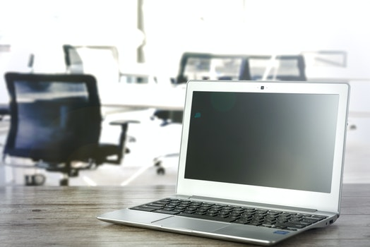 Free stock photo of black-and-white, desk, laptop, office