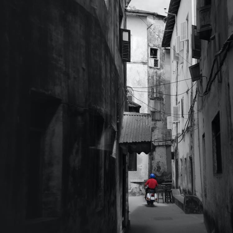 Free stock photo of alley, black and white, blue