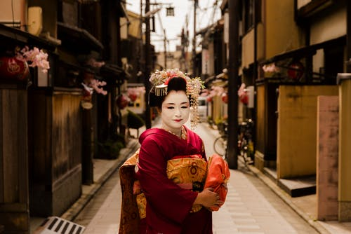 Woman Wearing Red Kimono