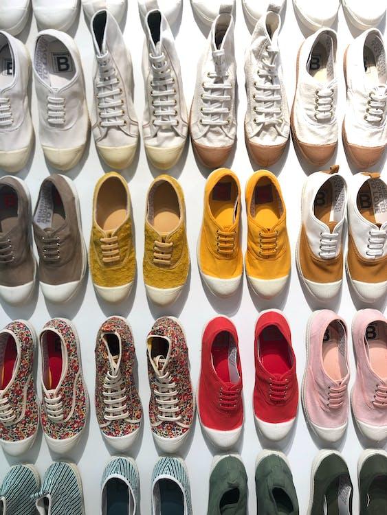 barevný, boty, design