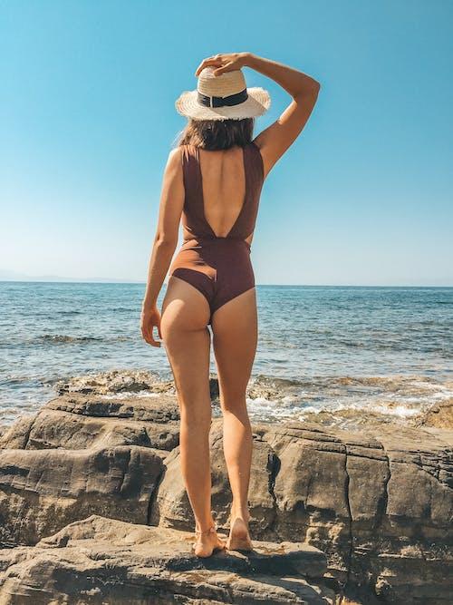 Woman in Brown Swimwear