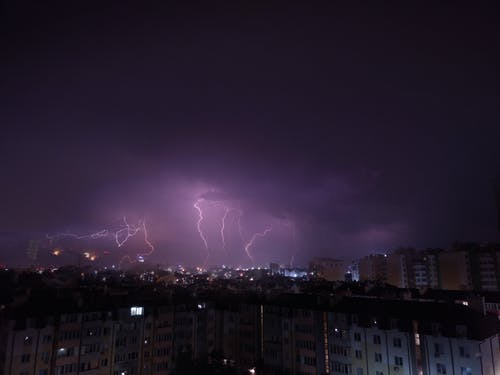 Lightnings Above Buildings