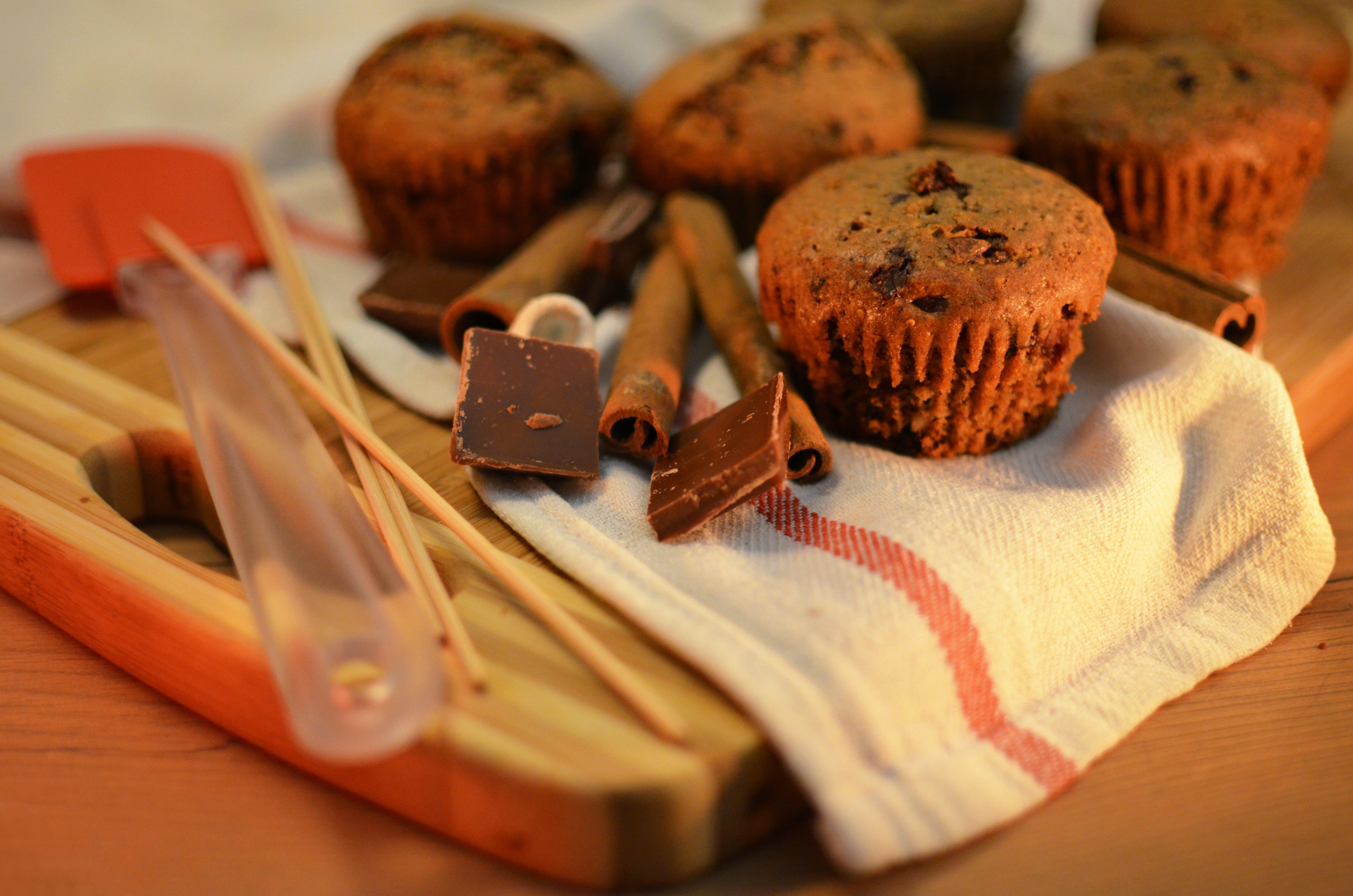 Chocolate Cupcakes on White Textile