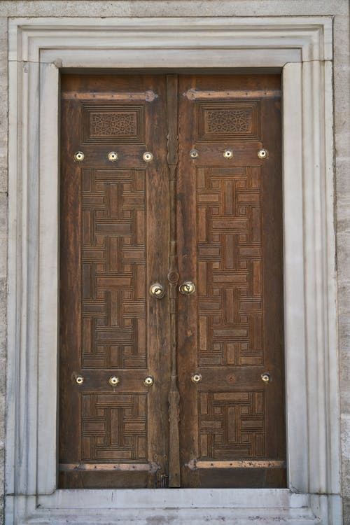 Closed Brown Wooden Door
