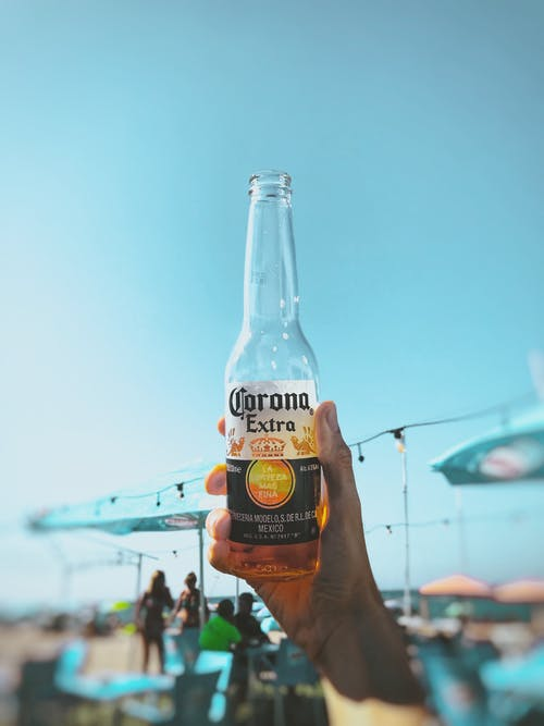 Person Holding Corona Extra Bottle