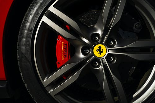 Close-Up Photo of Ferrari Rim