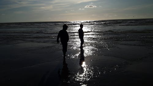 Free stock photo of evening sun, france, kids, North Sea