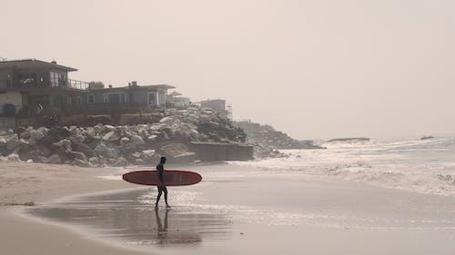 Photos gratuites de faire signe, homme, longboard, plage
