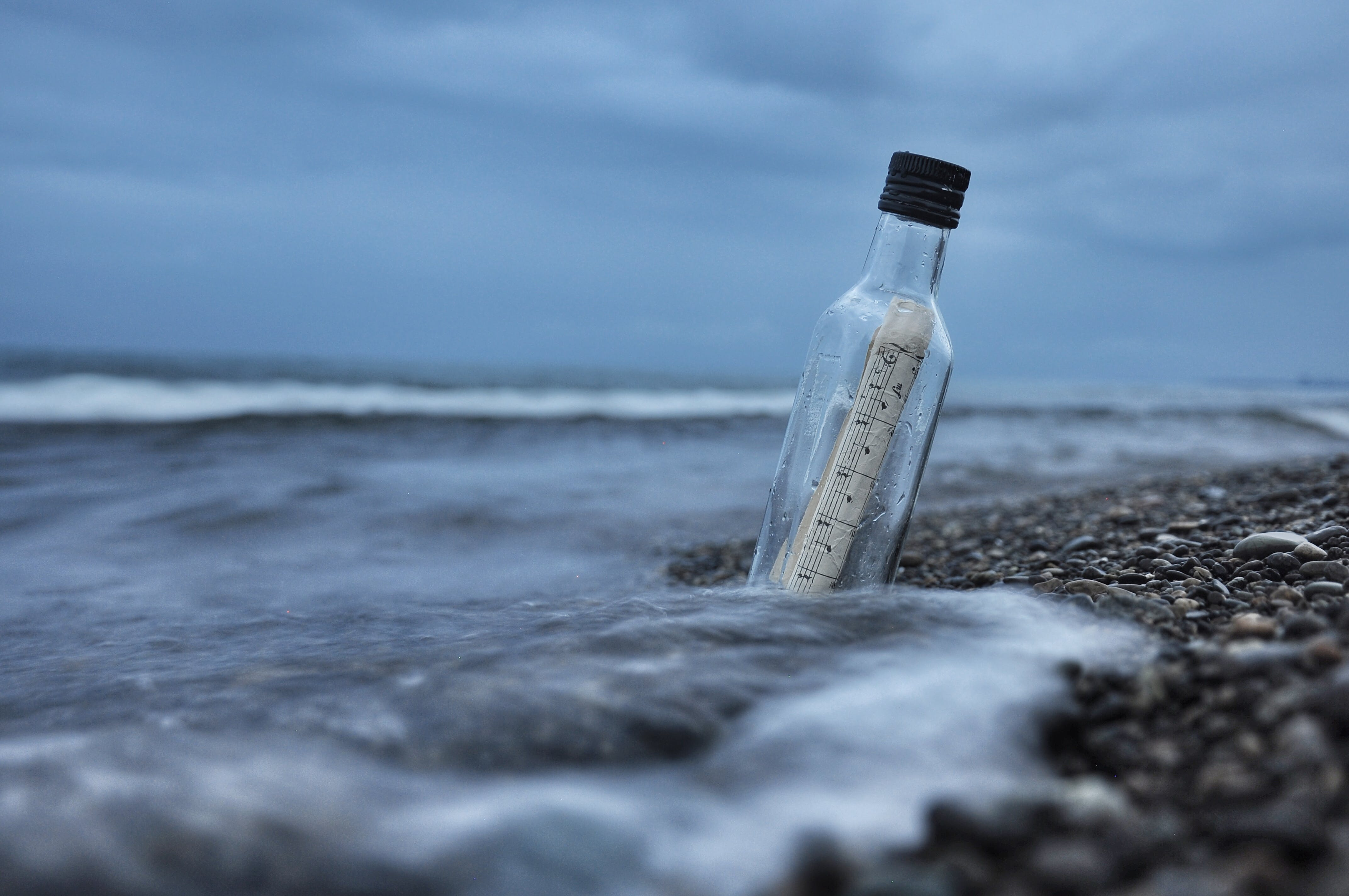 Message Bottle on Sand