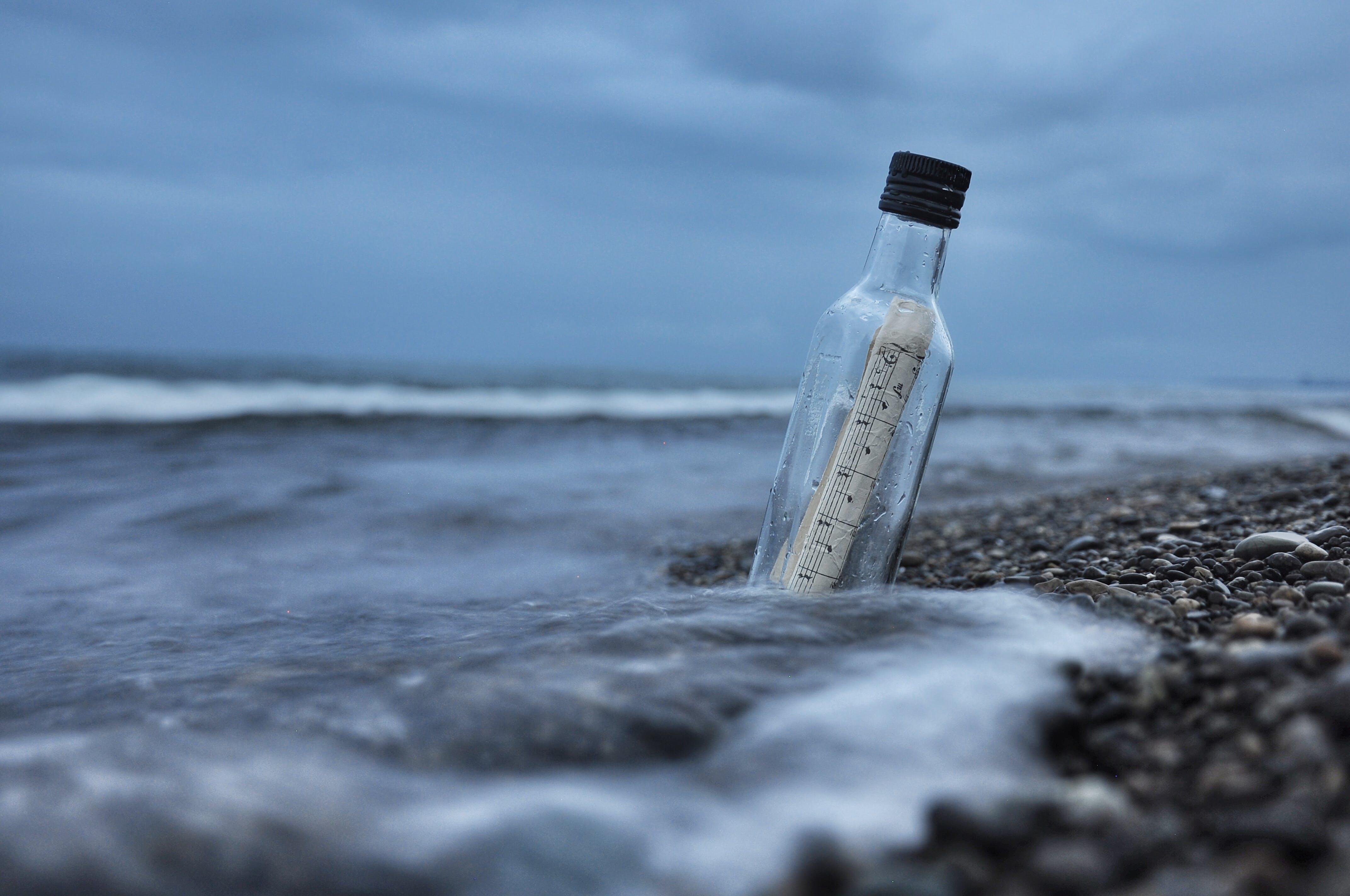 Message Bottle on Sand