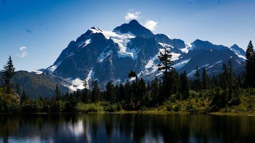 Бесплатное стоковое фото с безмятежный, вечнозеленый, вода, горы