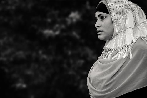 Monochrome Photo of Woman Wearing Hijab