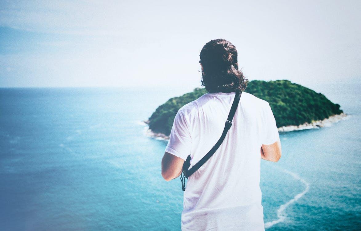 afslapning, blå, blå hav