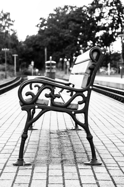 Free stock photo of bench, black-and-white, nostalgia, paved road