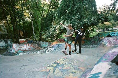 Two Men Skateboarding