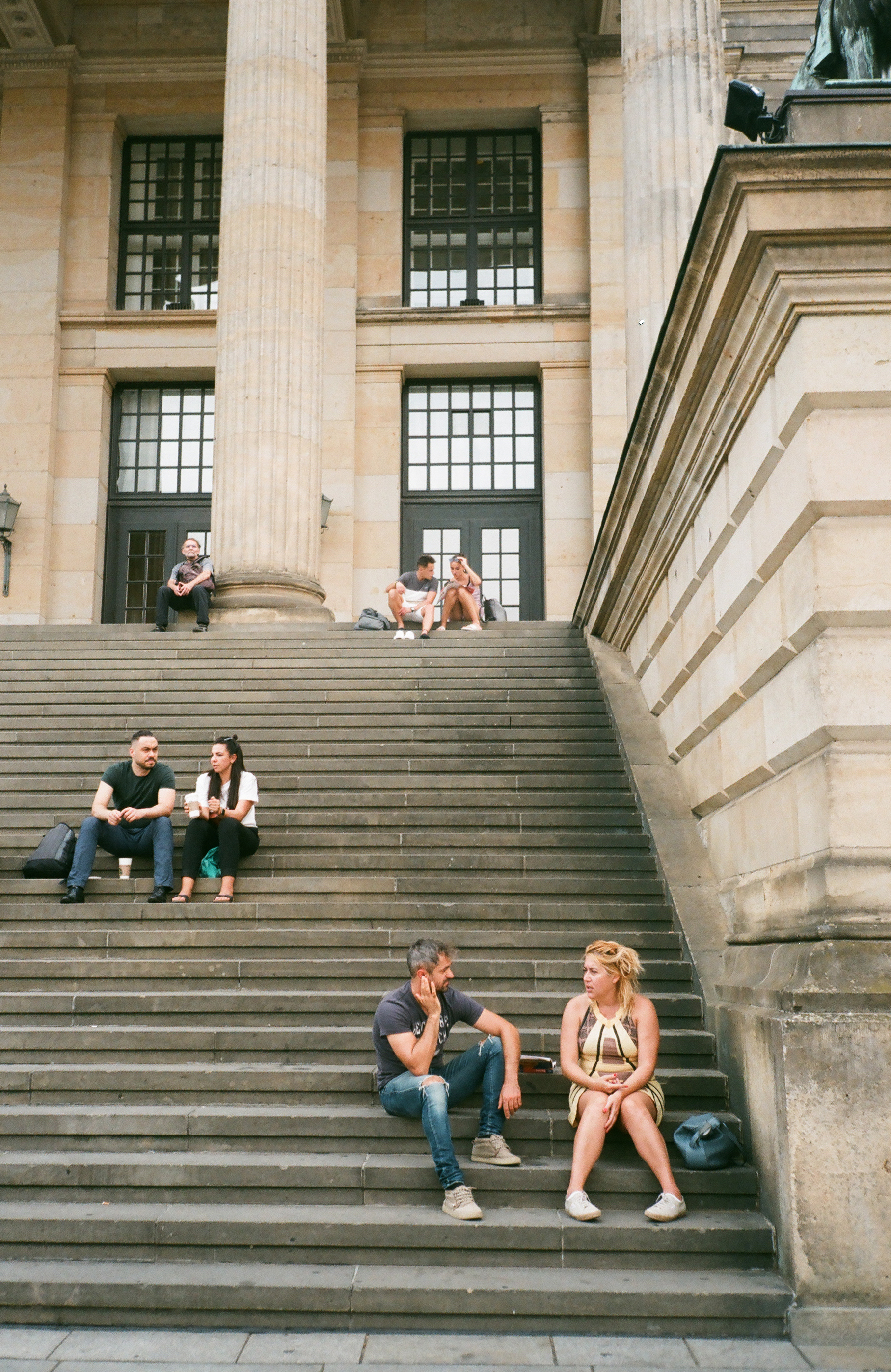 People Sitting on Stairs