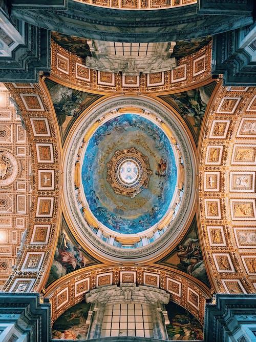 Бесплатное стоковое фото с арки, архитектура, в помещении, голубой