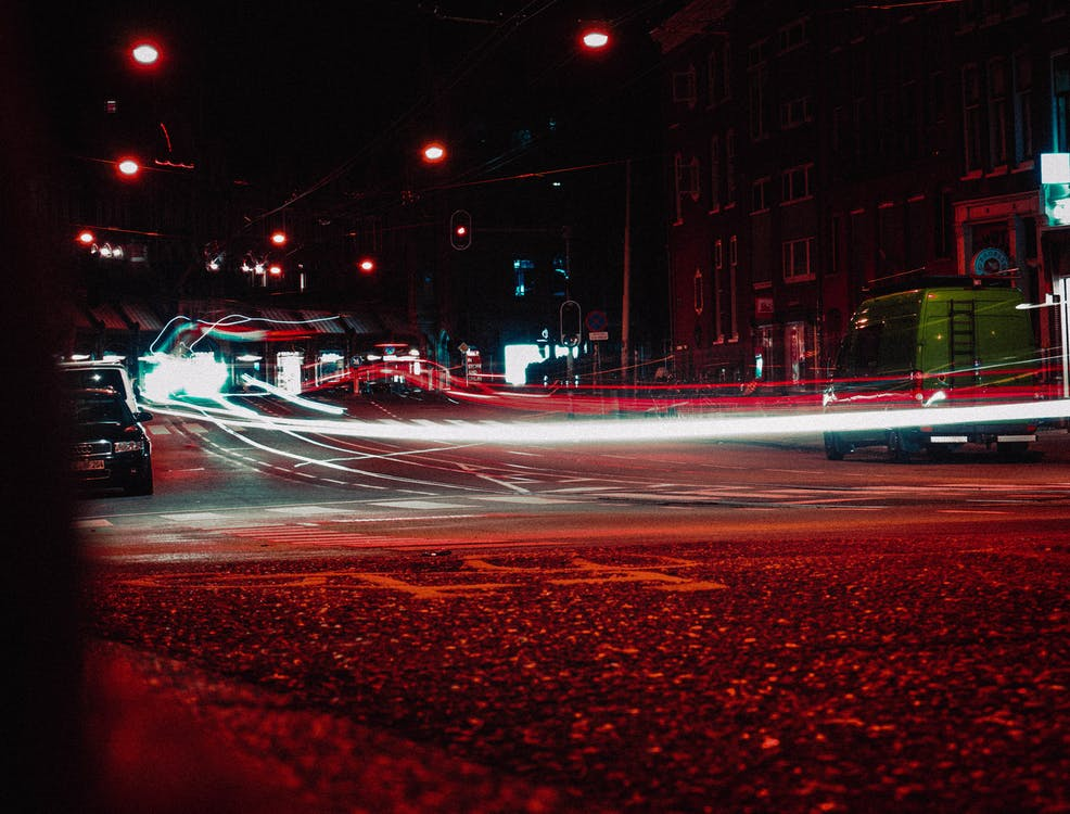 Time-Lapse Photography of Vehicles on Road