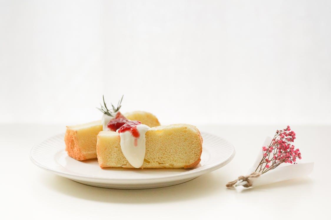 bestek, brood, cake