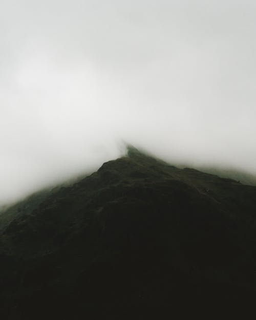 Drone Photo of Mountain Covered With Fog