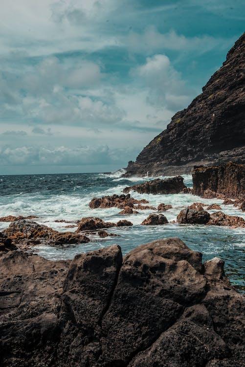 bølger, cliff edge, dagtid
