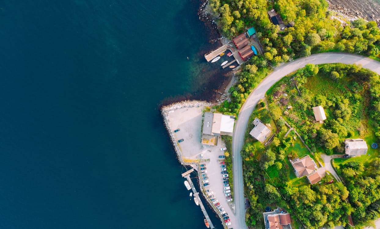 Аэрофотосъемка, берег, вид сверху