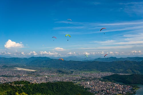 Free stock photo of city, mountains, nepal, parachute