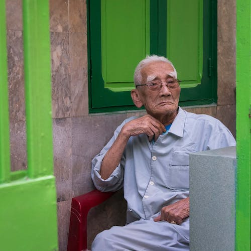 Photo Of An Old Man Wearing Eyeglasses