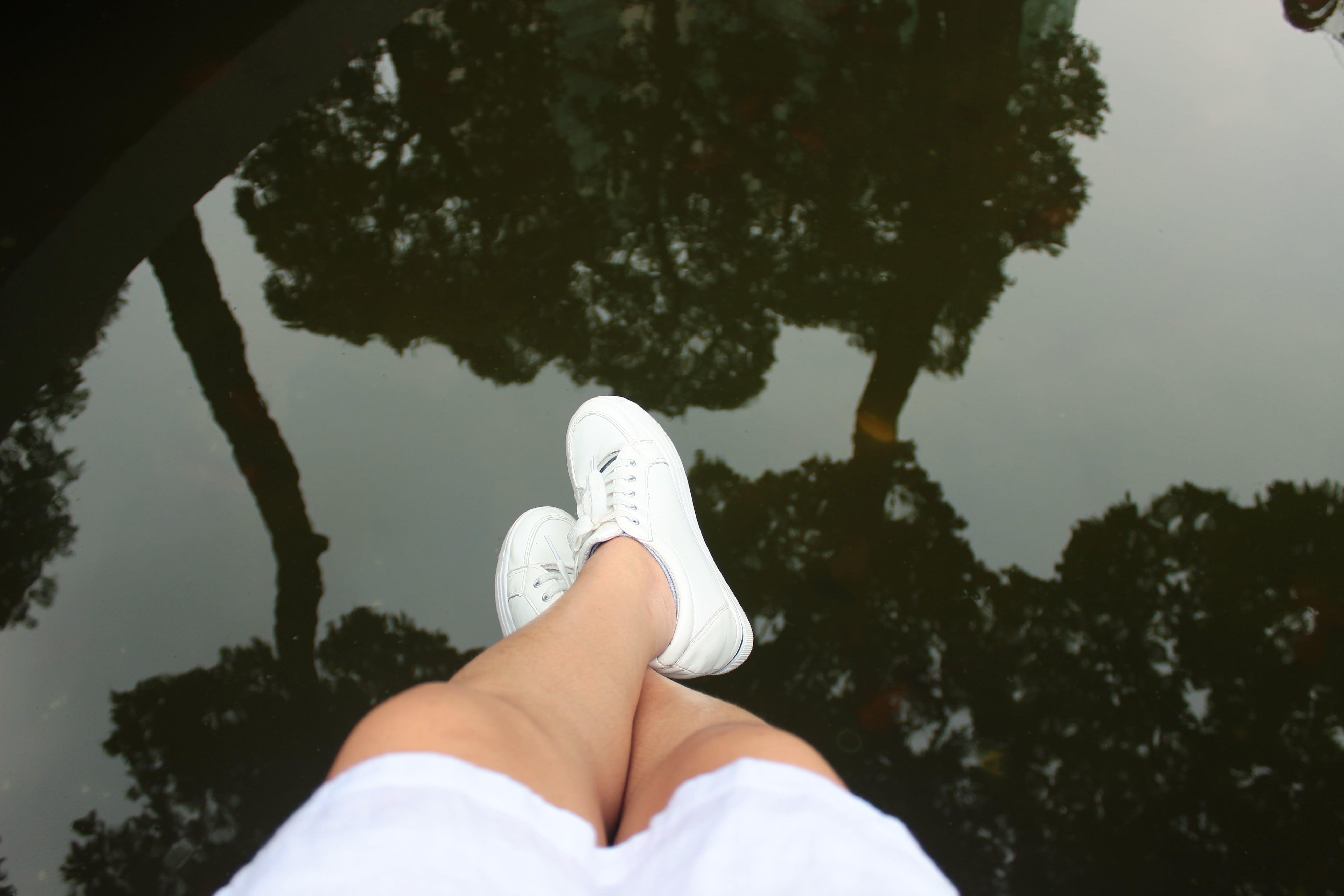 Person's Feet Above Body of Water