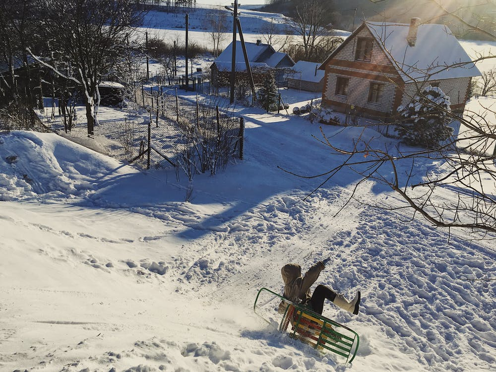 Bělorusko, venkovský, zima