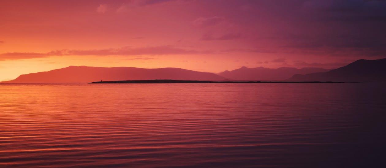 вечір, водойма, горизонт