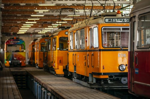 Yellow and Red Train Cars