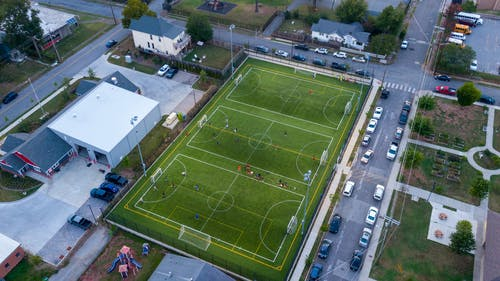 High Angle Photography Of Soccer Field