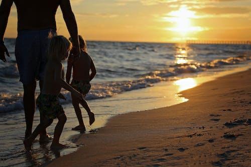 Free stock photo of beach, boys, kids, silhouette