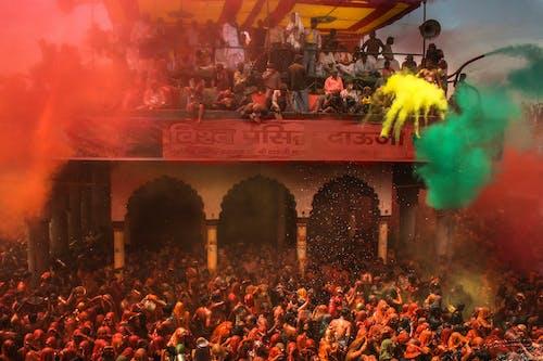 Crowd of people enjoying Holi festival